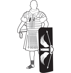 Roman solider and shield - icon