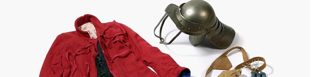 English Civil War items including a soldier's jacket, montero hat and bandolier
