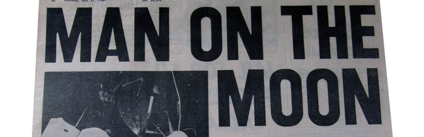 Front page of newspaper showing headline Man on the Moon