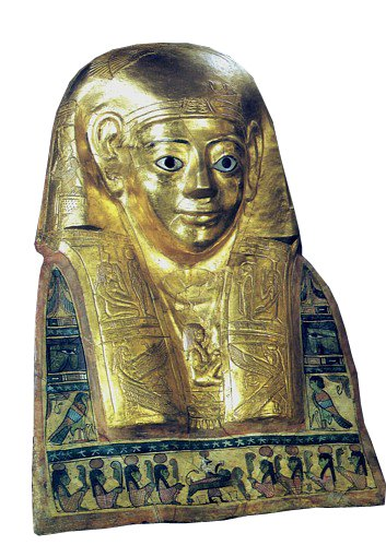 A golden statue of the head of Titos Flavios Demetrios with illustrations at the bottom and the sides