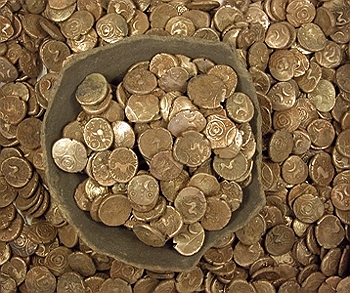 A pile of gold coins from the Wickham Hoard