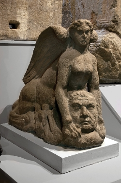 Stone Sphinx sculpture from a Roman tomb