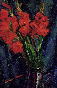 Painting of Gladiolli by Colin Moss 1955 Copyright Colin Moss Estate