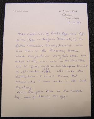 Letter regarding the Daniel collection