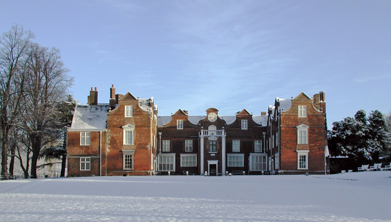 Christchurch Mansion in the snow