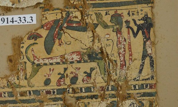 Painted canvas fragment of a funeral scene