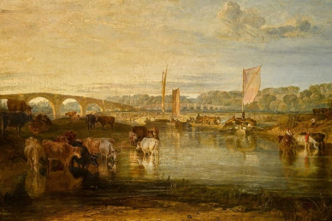 Joseph Mallord William Turner, R.A., Walton Bridges, oil on canvas, 92.7 x 123.8cm - Courtesy of Sotheby's