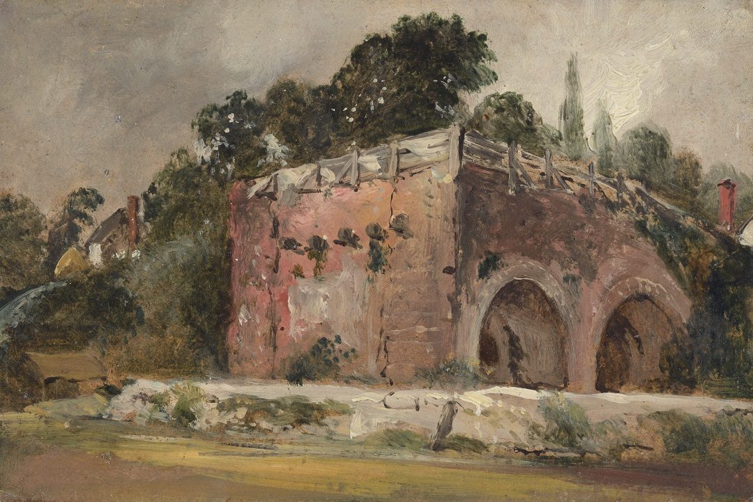 A painting of a tree lined bridge with a building in the distance on the left