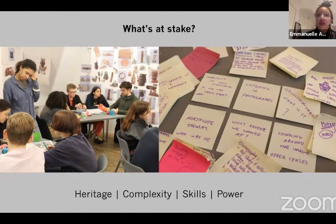 A screenshot from the Sharing Power seminar. A photo on the left shows groups of people in discussion. A photo on the right shows lots of post-its with statements and questions written on them