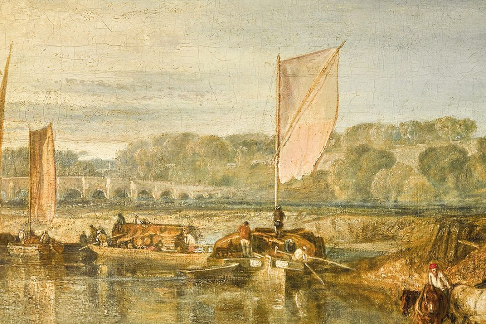 A painting of a boat on a river river.