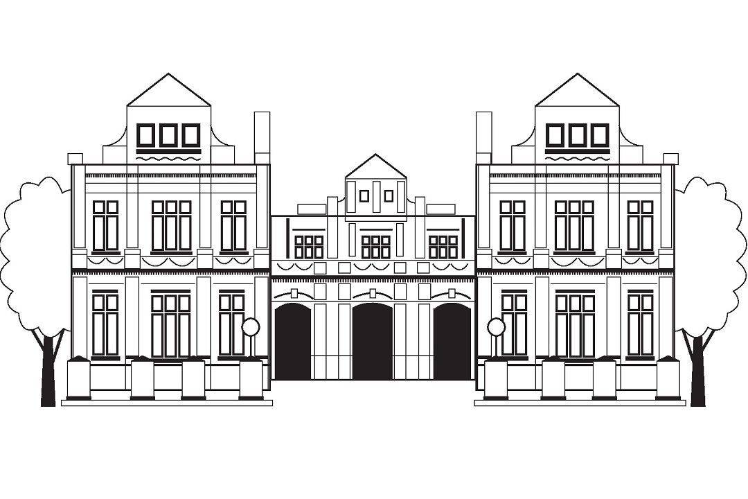 A black and white illustration of the front of Ipswich Museum