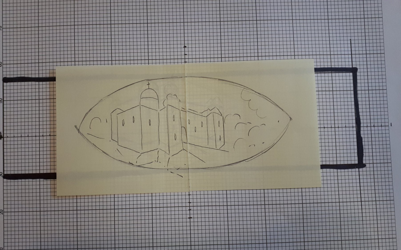 A line drawing sketch of Colchester Castle laid over graph paper