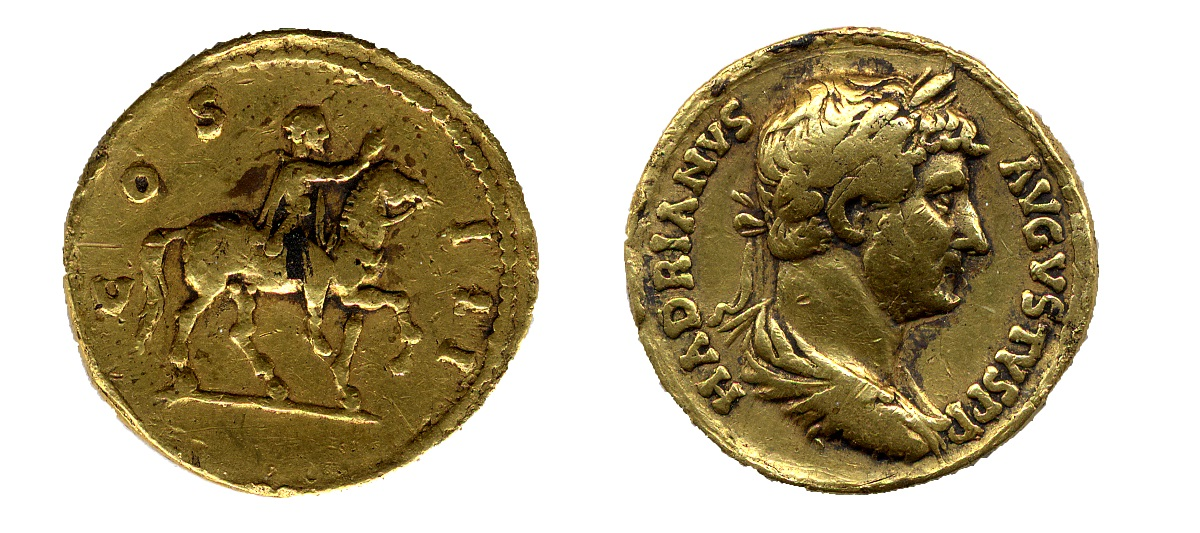 The two sides of a gold coin. On one side is a profile on a mans head, on the other is a man on horseback