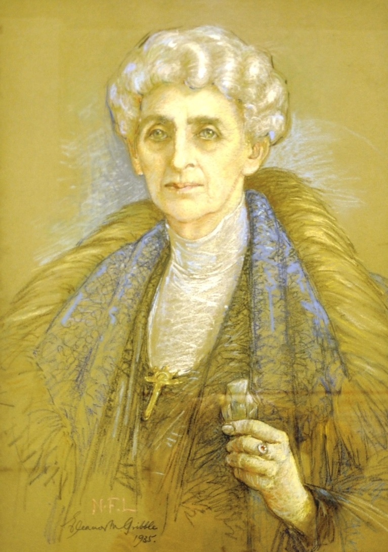 A pastel portrait of an old woman. She is wearing a gold cross and a large fur coat