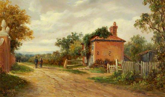 A painted view of a country road. A red brick house is on the right in the middle ground and two figures a stood in front of it