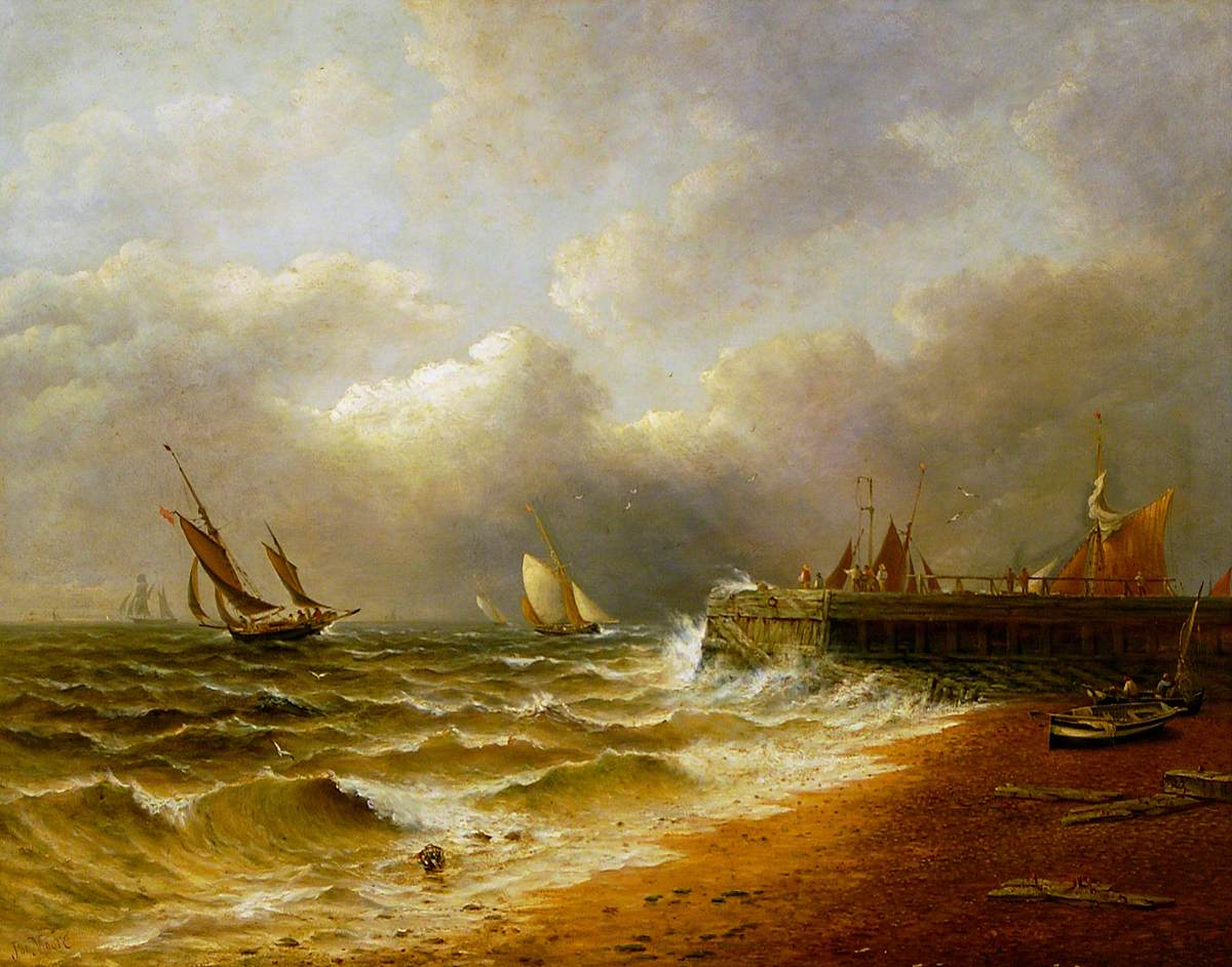 A painting of a beach. The sea to the left appears choppy and grey clouds are in the sky. Sail boats are in the distance