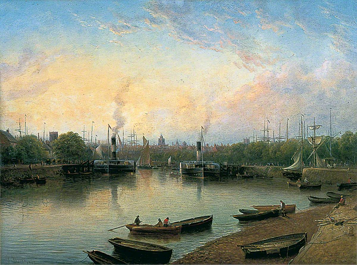 A painting of a riverbank/ In the foreground are people in rowing boats. Larger sail boats and steam boats are in the distance. The sky is blue and the edge of the water is lined with trees