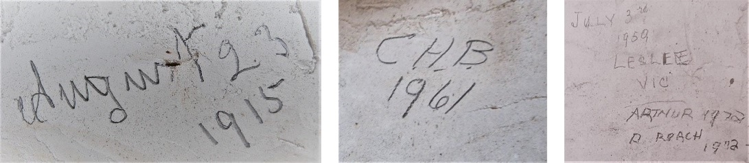 3 examples of signatures and sets of initials written onto what looks like rock