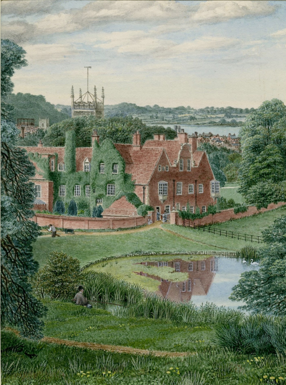 A watercolour painting showing a large, red brick building in the middle distance. In front of it is a lake, which has a reflection of the building on the surface. In the immediate foreground are leafy green trees on either side. The top of a church is visible behind the building and trees fill the horizon line in the distance.