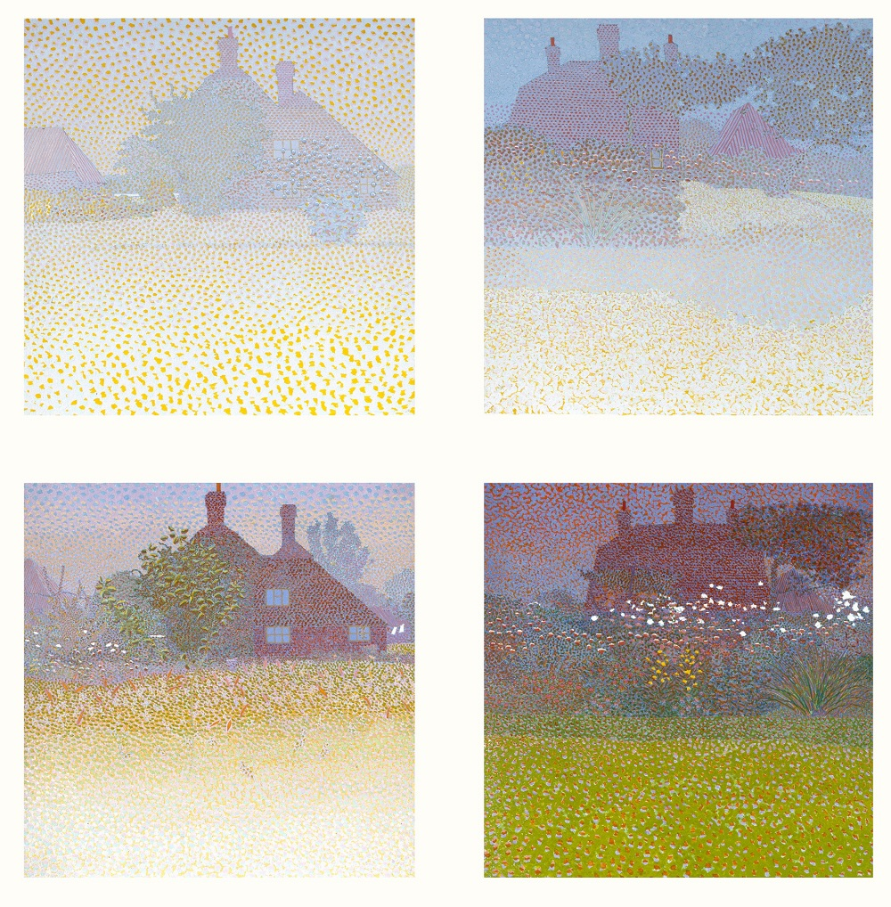 A series of four prints arranged two by two. They show a red brick building with trees and a lawn. Each one is slightly different, with the building appearing clearer in some than others. A dotty texture gives the impression of a fog over the landscape, making the building hard to see.