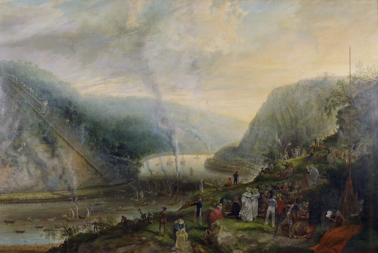 A painting showing a crowd of people on the edge of a cliff. A river is visible to the left and in the distance another cliff with trees and buildings. There are many boats on the river, with smoke rising from chimneys on some.