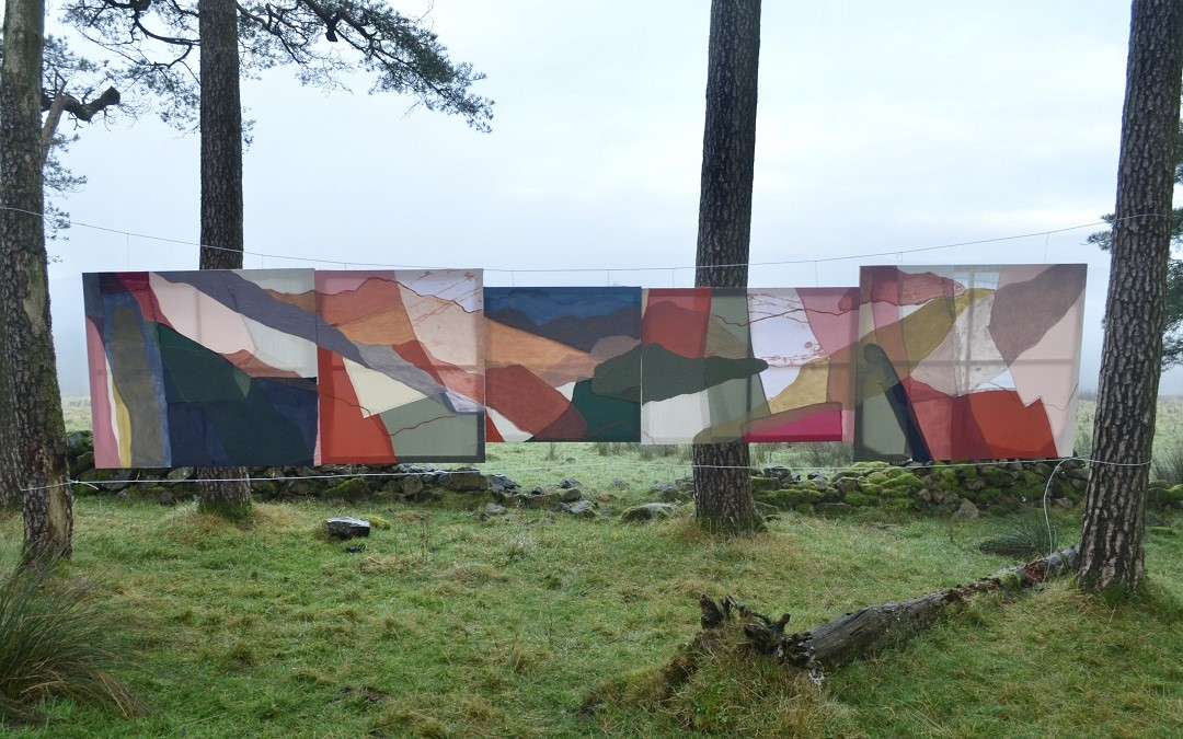A photograph showing five canvases, hung in a horizontal line from string between two trees. Another two tree trunks are visble behind them. The canvases are covered with different colours and abstract shapes.