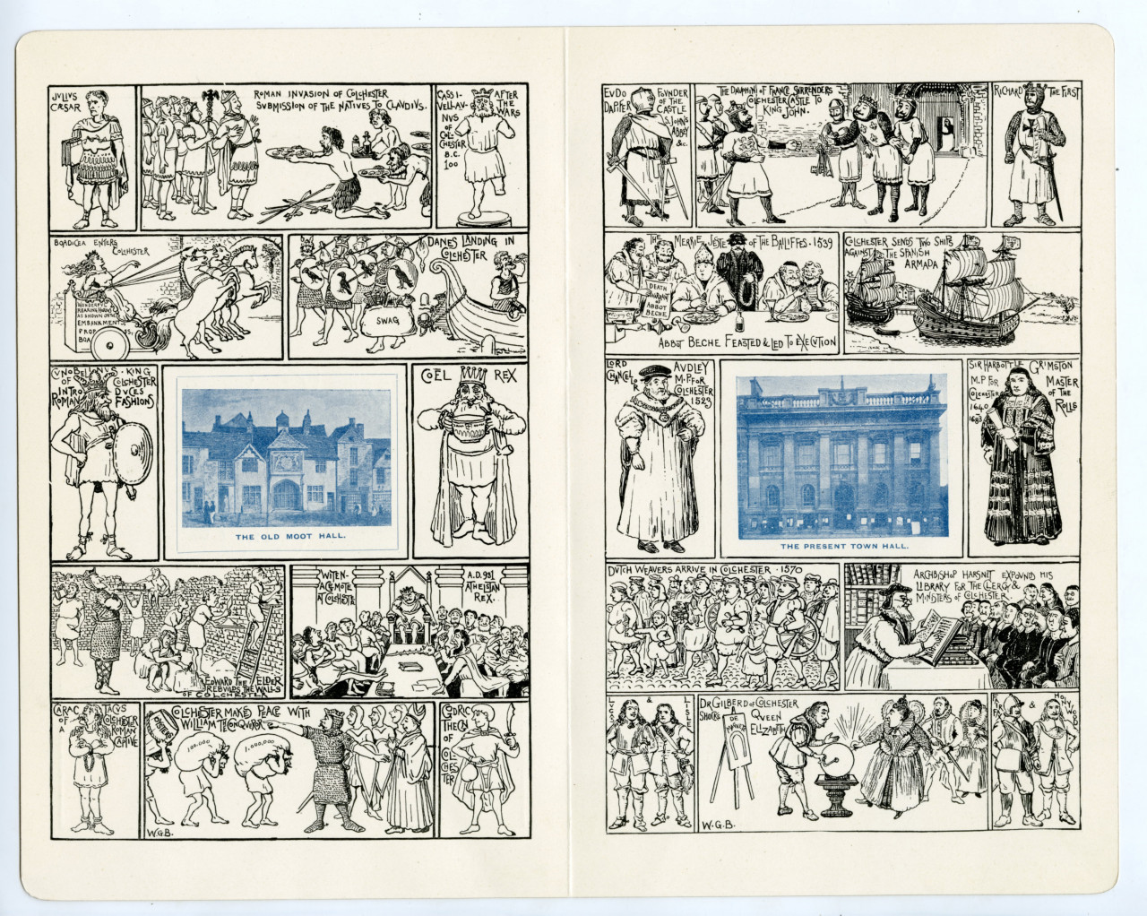 A colour scan of the programme for the 1898 Colchester Oyster Feast. The scan show a double page spread with illustrated boxes like a comic book. The drawings are black line drawings, and in the centre of each page is a blue tinted illustration of different buildings