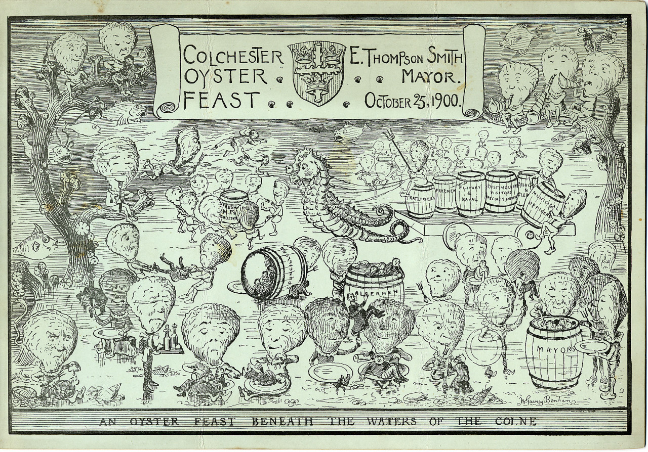 An artwork from the Colchester Oyster Feast on 25th October 1900. Along the bottom, text reads: An Oyster Feast Beneath the Waters of the Colne. The illustrated scene shows figures with human bodies and oysters for heads. Some are feasting, dancing and playing instruments, another is dressed as a waiter