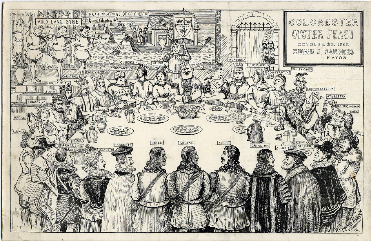 A colour scan of artwork from the Colchester Oyster Feast on 25th October 1899. The illustrated scene shows historical figures associated with Colchester stood around a table with their arms crossed and holding hands. Figures include Boudica, Claudius, Helena, Gilberd and John Ball. Three violinists in the top left corner are labelled as playing Auld Lang Syne. In the background is an oyster boat on the sea