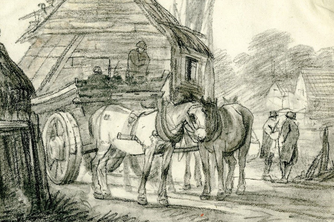 A black drawing on white paper showing a horse and cart in front of a building