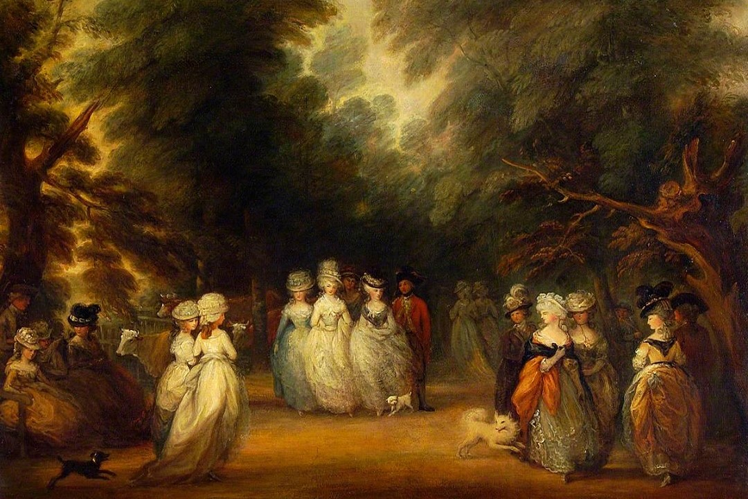 A painting showing a group of finely dressed ladies in a wooded area. Two small dogs are playing by their feet.