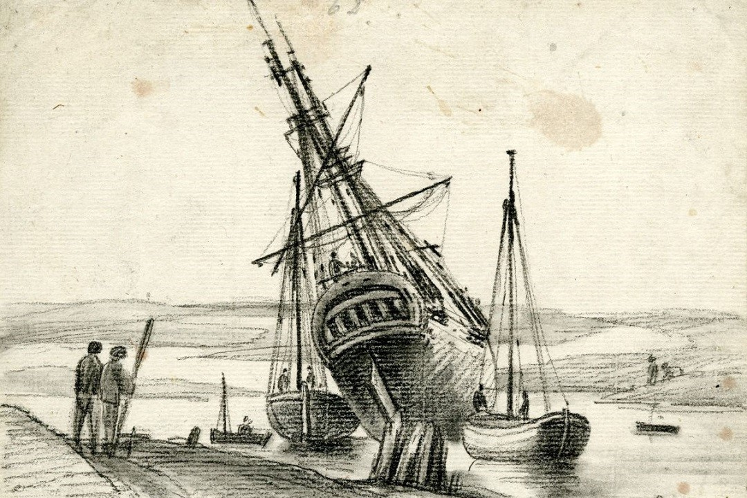 A black drawing on white paper showing a large beached ship with a tall mast and rigging. Two figure are stood on the beach to the left of the ship